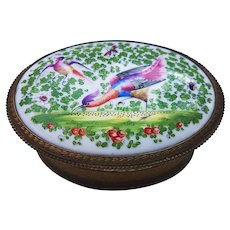 "Fabulous Dresden 1900 Hand Painted ""Wild Game Birds"" 6-1/4 x 4-3/8"" Ornate Brass Encased Scenic Dresser Box Casket"