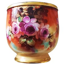 """Spectacular Pickard Studio of Chicago 1898 Hand Painted """"Red Roses"""" 8-3/8"""" Floral Pedestal Jardiniere by Artist, """"Thomas M. Jelinek"""""""
