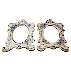 """Matched Pair Of Exceptional Vintage Bavaria 1900's Hand Painted """"Forget Me Not"""" Floral Picture Frames"""