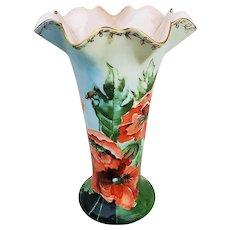 "Breathtaking Bavaria 1900's Hand Painted ""Burnt Orange Poppy"" Fancy Flared & Crimp Floral Vase"