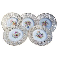 "Beautiful Vintage Dresden 1900's Set of 5 Hand Painted ""Wild Flowers"" Reticulated Floral Dessert Plates"