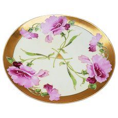 """Just Gorgeous Haviland France Vintage 1900's Hand Painted """"Pink Tulip"""" Floral Plate by Listed Artist, """"A. Piron"""""""