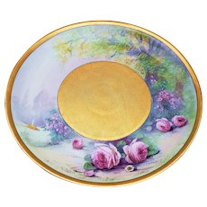 "Large & Impressive 12-3/4"" Pickard Studio & JR Hutschenreuther Selb Bavaria of Chicago 1912 Hand Painted ""Roseland"" Floral Chop Plate by Artist, ""Edward Challinor"""