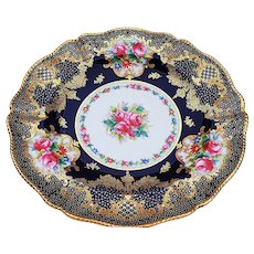 """Fabulous Set of 8 Spode Copeland's English China 1891 Hand Painted """"Enamel Red Roses & Wild Flowers"""" 9-1/4"""" Cobalt Blue Floral Dinner Plates Made For """"T. Goode & Co., London"""""""