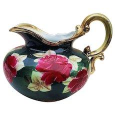 """Fantastic Vintage Nippon 1900 Hand Painted """"Large Deep Red Roses"""" 7-1/2"""" Floral Cider Pitcher"""