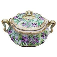 "Beautiful Nippon Vintage 1900 Hand Painted ""Violets"" Floral & Beaded Cracker Jar"