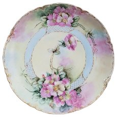 "Gorgeous Vintage Haviland France 1900 Hand Painted ""Wild Pink Roses"" Floral Plate"