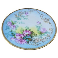 """Exquisite Pitkin & Brooks of Chicago & T & V Limoges France 1895 Hand Painted """"Pink Roses"""" Floral Plate"""