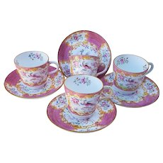 Outstanding Minton 1880 Set of 4 Hand Painted Pink Mythical Beast Cockatrice Scenic Cups & Saucers