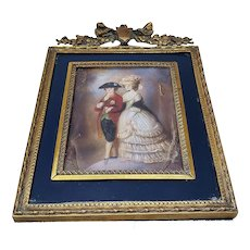 """Stunning Vintage France 1900 Hand Painted """"Messieurs et sa Dame"""" 6-1/8"""" x 4-1/4"""" Portrait Plaque by the Artist, """"Viday"""""""