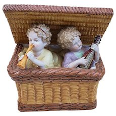 "Scarce Dresden Germany 1900's Hand Painted ""Piano Babies in A Basket Playing Music"" 8"" Scenic Figurine"