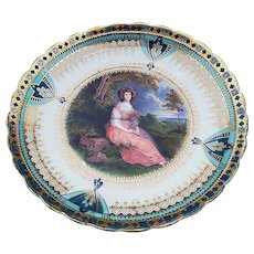 """Exceptional Vintage RS Prussia [OS] 1900 Thomas Gainsborough's Depiction of the """"Lady Sitting In the Garden 10"""" Portrait Plate"""