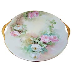 "Beautiful Vintage Bavaria 1900's Hand Painted ""Pink & White Roses"" 10-3/8"" Floral Plate"