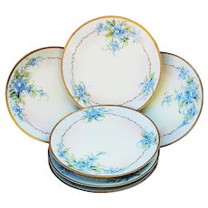 """Beautiful Set of 6 Thomas Sevres Bavaria 1900's Hand Painted """"Forget Me Not"""" Floral Plates by Pickard Artist, """"Howard Reury"""""""