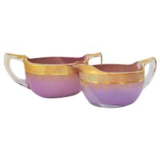 Gorgeous Vintage Westmoreland Glass 1920-30's Lavender With Fancy Gold Stenciling Sugar & Creamer