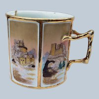 "Exquisite Vintage Royal Bayreuth 1890's Hand Painted 6-Sided ""Old Castles"" Scenic 3-1/4"" Mustache Cup"