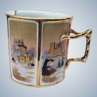 """Exquisite Vintage Royal Bayreuth 1890's Hand Painted 6-Sided """"Old Castles"""" Scenic 3-1/4"""" Mustache Cup"""