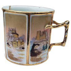 """Exquisite Vintage RS Prussia 1890's Hand Painted 6-Sided """"Old Castles"""" Scenic 3-1/4"""" Mustache Cup"""