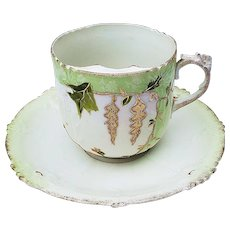 """Unusual RS Prussia 1900 Hand Painted """"Floral, Green & Gold Leafing"""" Floral Mustache Cup & Saucer"""