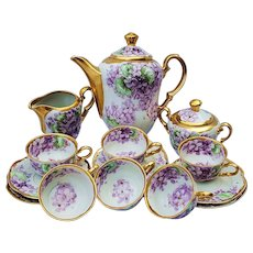 "Magnificent Vintage 1910 Hand Painted Lifelike ""Violets"" 17 Pc Floral Tea Set by List Chicago Professional Decorator ""William Wands"""