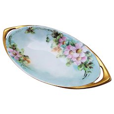 """Attractive Vintage Rosenthal Selb Bavaria 1900's Hand Painted """"Wild Pink Roses"""" 9"""" Floral Tray by Artist, """"Susan Koll"""""""