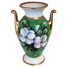 """Beautiful J.H. Stouffer Studio of Chicago 1938 Hand Painted """"Bunchberry Dogwood"""" Floral Vase by Artist, """"J. Pine"""""""