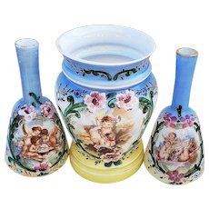 """Scarce & Fabulous 1900 Vintage Matched Set Of 3 Twin Scenic Barber Bottles & Waste Container Displaying """"Putti's"""" & Hand Painted Enameling"""