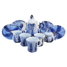 "Scarce RS Prussia [OS] 1900 Hand Painted ""Leaf Mold"" 12 Pc Cobalt Blue Child's Tea Set"