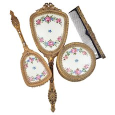 """Wonderful 1920's Faux Guilloche Enamel 4-Pc Hand Mirror & Brush Set With Hand Painted """"Pink Roses & Blue Daisies"""" Inserts"""
