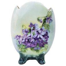 "Attractive Vintage Bavaria 1900's Hand Painted ""Violets"" 4-Footed Floral Vase"
