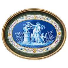 """Extraordinary Vintage Italian Ginori Pre-1900 Hand Painted """"Two Victorian Ladies & Two Putti's In an Italian Garden"""" 10-1/2"""" x 8-1/4"""" Scenic Plaque"""