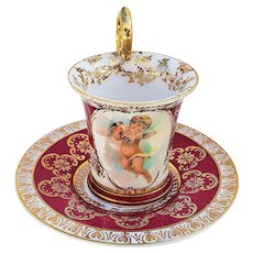 "Beautiful Vintage Austria 1900's ""2 Helping Putti's"" Red Scenic Cup & Saucer"