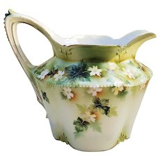 "Large Charming Vintage RS Prussia 1900 ""White Flowers"" 7-1/4"" Floral Cider Pitcher"