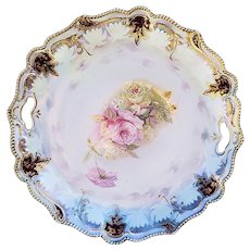 """RS Prussia Vintage 1900 Soft """"Pink & Yellow Roses"""" 9-3/4"""" Satin Finish Floral Plate"""