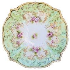 """Wonderful Vintage RS Prussia 1900 """"Pink Baby Breath Flowers"""" Floral Plate"""