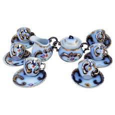 "Exquisite Scarce Vintage RS Prussia 1900 ""Wild Flowers"" 15 Pc Cobalt Blue Floral Child's Demitasse Size Tea Set"
