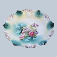 """Gorgeous Vintage RS Prussia 1900 """"Bowl of Flowers"""" 6-1/2"""" 3-Footed Floral Point & Clover Bowl"""