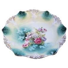 "Gorgeous Vintage RS Prussia 1900 ""Bowl of Flowers"" 6-1/2"" 3-Footed Floral Point & Clover Bowl"