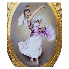 "Spectacular & Exceptional 13-1/4"" Limoges France 1900 Hand Painted ""Enchanting Flamenco Dancer"" Scenic Plaque"