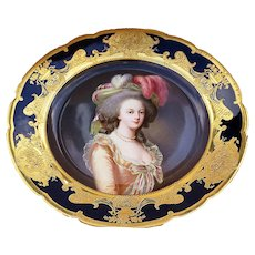 "Spectacular Dresden Ambrosius Lamm 1900 Hand Painted ""Marie Antoinette"" 10"" Portrait Plate by Artist, ""C. Fltrische"""