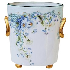 "Exquisite Bavaria & Chapman Bailey China Co. 1900's Hand Painted ""Forget Me Not"" 8-1/4"" Floral Cache Pot by Artist, ""Pat W."""