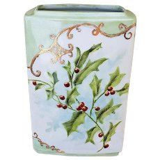 "Captivating Bavaria 1900's Hand Painted Christmas ""Holly & Berry"" 9"" Floral Cache Pot, by Artist, ""Dolores Pinkonsly"""
