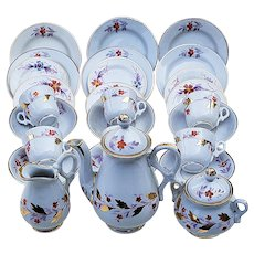 "Wonderful 29 Pc RS Prussia 1900 Hand Painted ""Burnt Orange Poppy"" Child's Floral Tea Set"