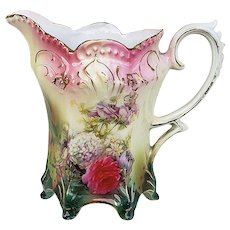 "Beautiful & Stunning RS Prussia 1900 ""Snowball & Roses Bowl of Flowers"" Footed Floral Cream Pitcher"