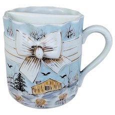 """Wonderful Vintage RS Prussia [ES] 1890's Hand Painted """"House In A Winter Setting"""" 3-1/2"""" Scenic Scuttle Shaving Mug"""