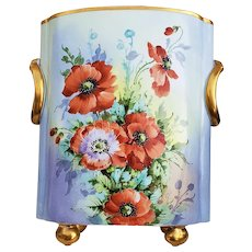 """Spectacular 12-1/2"""" Museum Quality Heinrich & Co. Selb Bavaria 1920's Hand Painted """"Burnt Orange Poppy"""" Floral & Footed Cache Pot by Listed Chicago Artist & Professional Decorator, """"Joseph Kittler"""""""