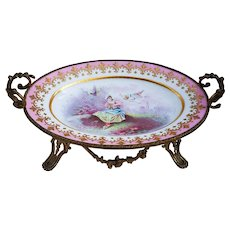 """Exquisite Vintage 1870's Sevres France Hand Painted """"Maiden Startled by a Putti"""" Scenic Dore Bronze 12-1/2"""" Tray by the Artist, """"R. Prib"""""""