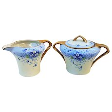 """Beautiful J.H. Stouffer Studio of Chicago & RS Germany Vintage 1920's Hand Painted """"Deep Blue Forget Me Not"""" Floral Creamer & Sugar Set"""