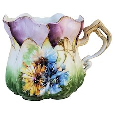 """Gorgeous RS Prussia 1900 """"Blue & Yellow Daisies & Poppies"""" Morning Glory Mold Floral Shaving Mug"""