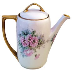 "Just Exceptional MZ Austria 1900 Hand Painted ""Pink Roses"" 9"" Floral Tea Pot"